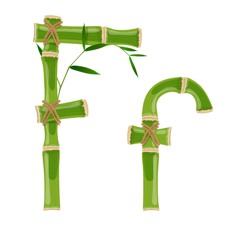 Bamboo letter F with young shoots with leaves, eco vector font