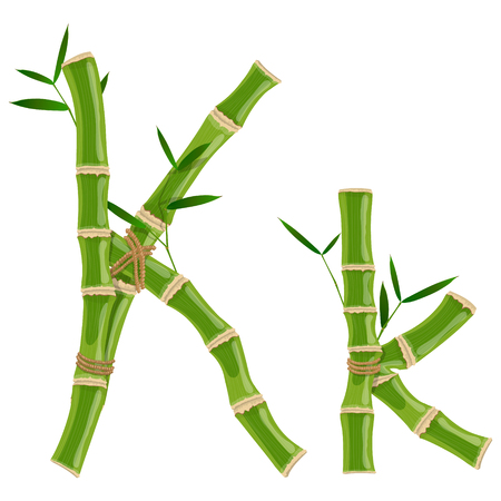 Bamboo letter K with young shoots with leaves, eco vector font Çizim