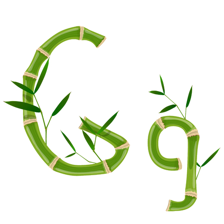 Bamboo letter G with young shoots with leaves, eco vector font Illustration