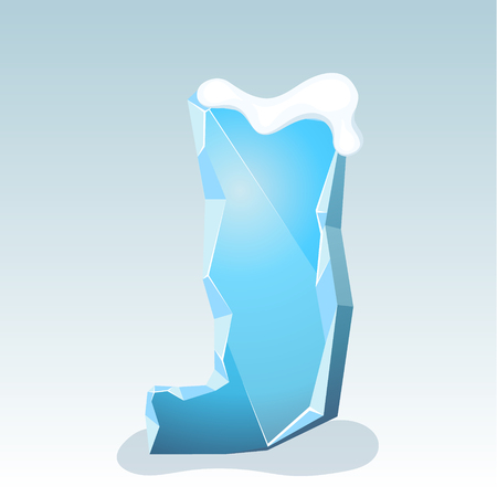 Ice letter J with snow on the top, vector font