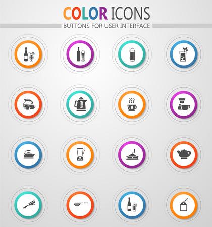 Utensili per la preparazione di bevande set di icone per siti web e interfaccia utente