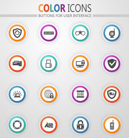 Security and protection vector icons for user interface design Vector Illustration