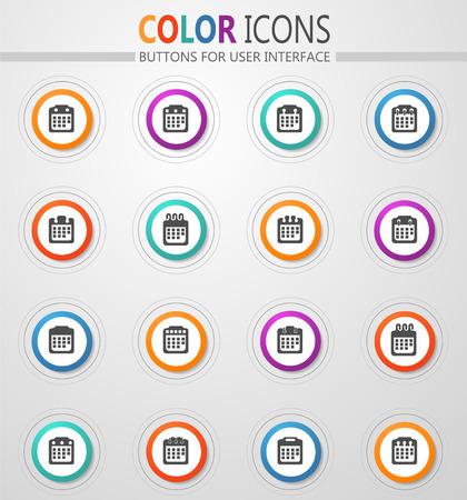 Calendar icon set for web sites and user interface Illusztráció