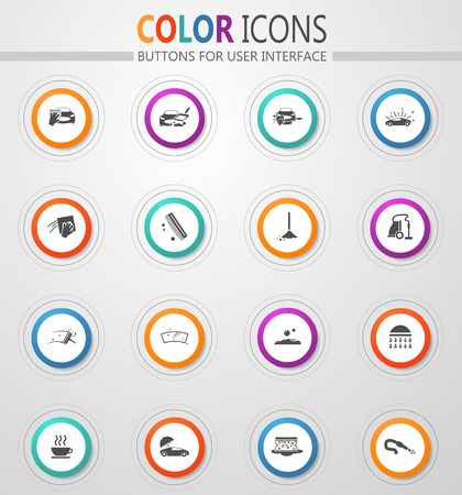 Car wash icon set for web sites and user interface Illustration
