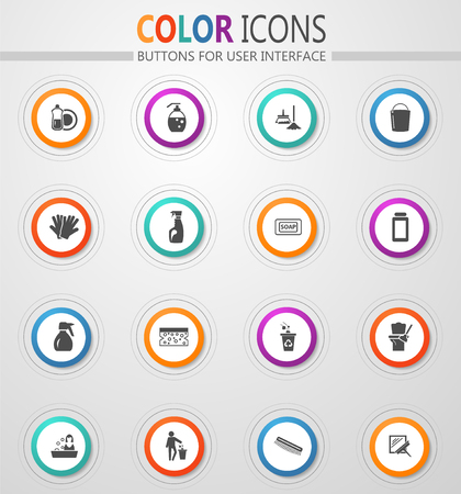 Cleaning company round vector icons for user interface Archivio Fotografico - 115020472