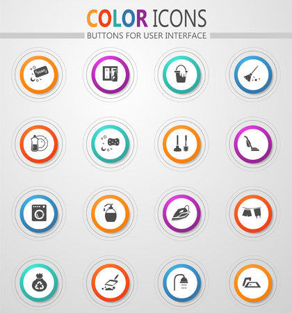 Cleaning company round vector icons for user interface