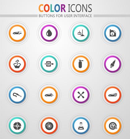 Conjunto de iconos de tienda de coches para sitios web e interfaz de usuario Ilustración de vector