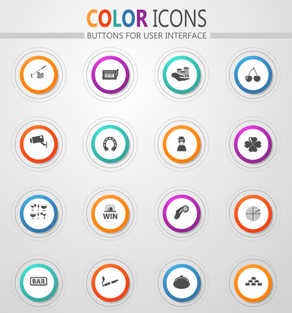Casino round vector icons for user interface