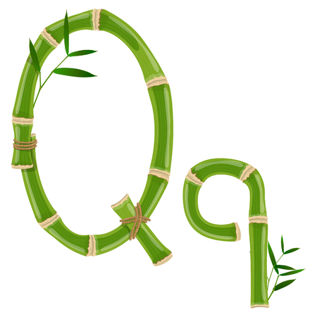 Bamboo letter Q with young shoots with leaves, eco vector font Çizim