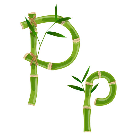 Bamboo letter P with young shoots with leaves, eco vector font