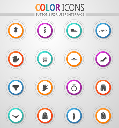Clothes round vector icons for user interface