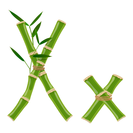 Bamboo letter X with young shoots with leaves, eco vector font