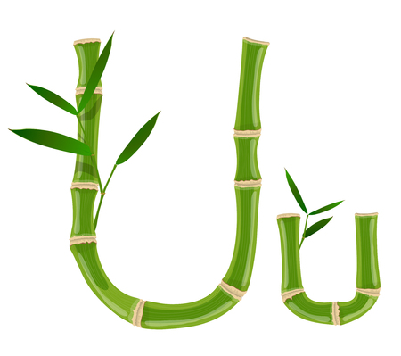 Bamboo letter U with young shoots with leaves, eco vector font