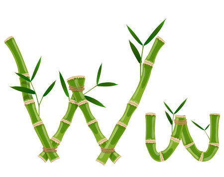 Bamboo letter W with young shoots with leaves, eco vector font Illusztráció