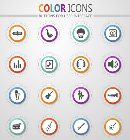 Jazz and Blues music icon set for web sites and user interface Stock fotó - 126236415