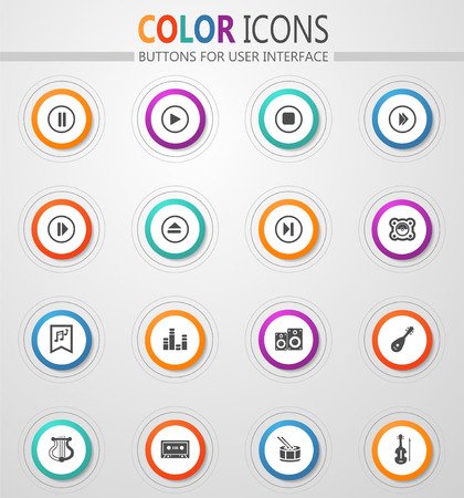 Music icon set for web sites and user interface