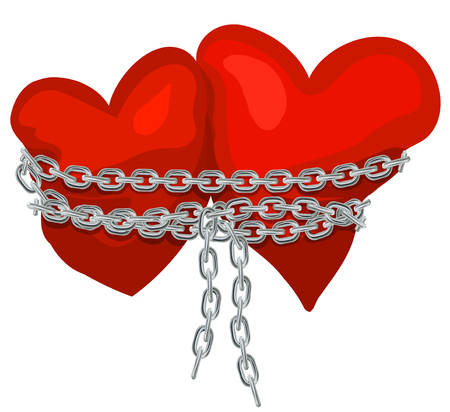 Two hearts linked by a chain, romantic illustration symbol of great love