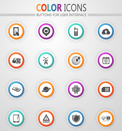 Mobile connection vector icons for user interface design