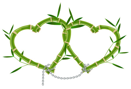 double bamboo frame linked by a chain isolated on white background, romantic design congratulations on Valentine's Day