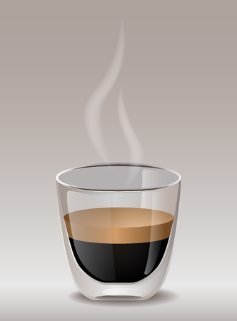 Hot espresso coffee in a transparent mug for branding, product designs. Vector Illustration