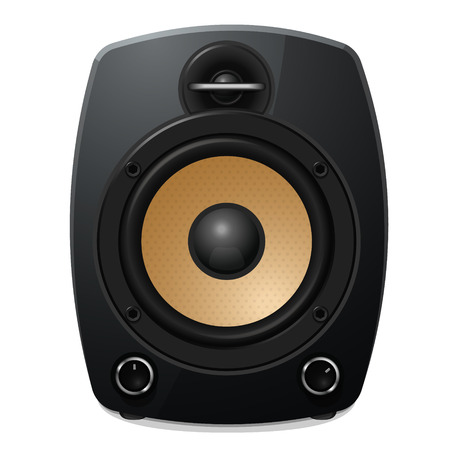 Black sound speaker on white background. Vector illustration. Ilustrace
