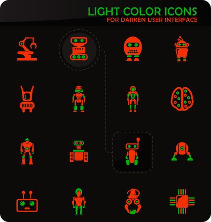 Robot easy color vector icons on darken background for user interface design