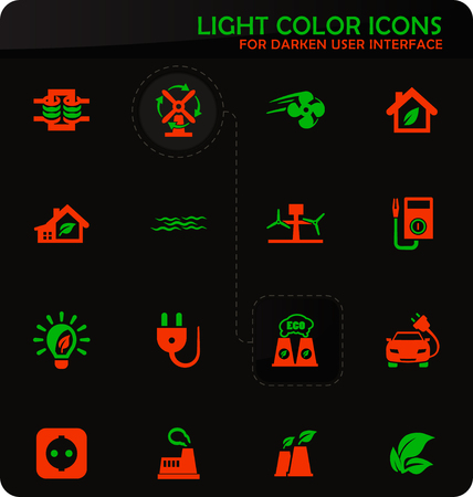 Alternative energy easy color vector icons on darken background for user interface design