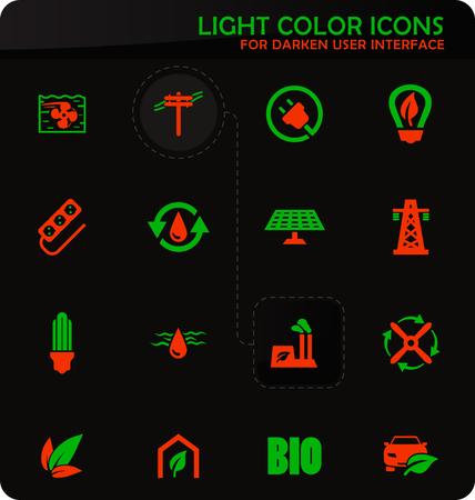 Alternative energy easy color vector icons on darken background for user interface design Ilustração