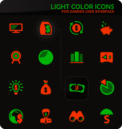 Business easy color vector icons on darken background for user interface design
