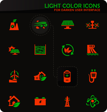 Alternative energy easy color vector icons on darken background for user interface design Ilustração