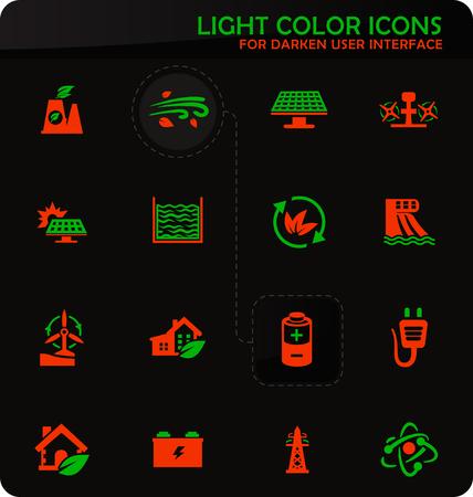 Alternative energy easy color vector icons on darken background for user interface design Illustration