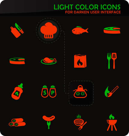 Barbecue easy color vector icons on darken background for user interface design 向量圖像