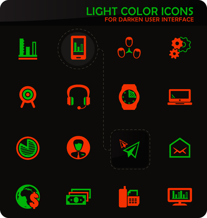 Business management and human resources easy color vector icons on darken background for user interface design