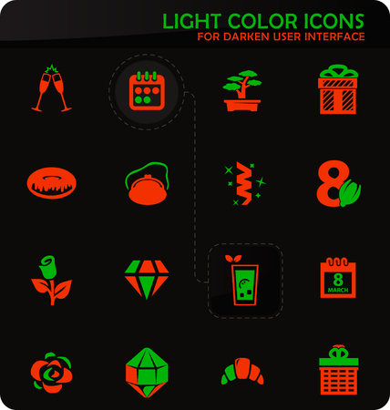 8 March easy color vector icons on darken background for user interface design