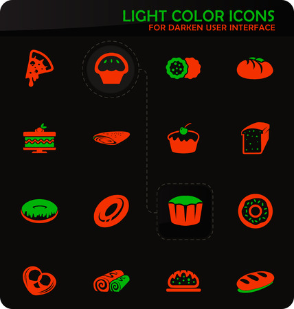 Bakery products easy color vector icons on darken background for user interface design