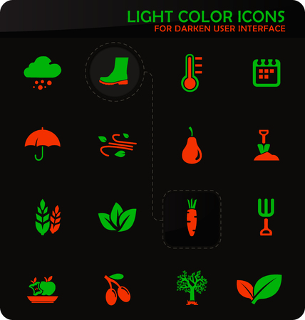 Autumn easy color vector icons on darken background for user interface design