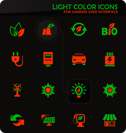 Alternative energy easy color vector icons on darken background for user interface design Ilustracja