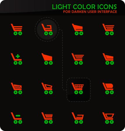 Basket easy color vector icons on darken background for user interface design