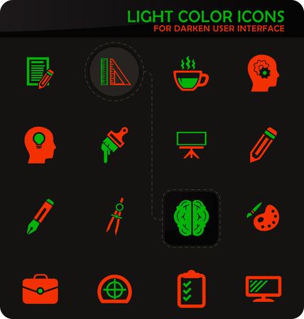 Creative process easy color vector icons on darken background for user interface design Ilustração