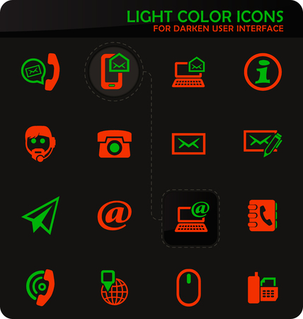 Contact us easy color vector icons on darken background for user interface design