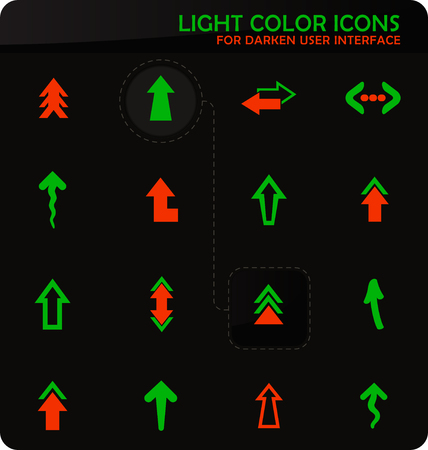 Arrows easy color vector icons on darken background for user interface design