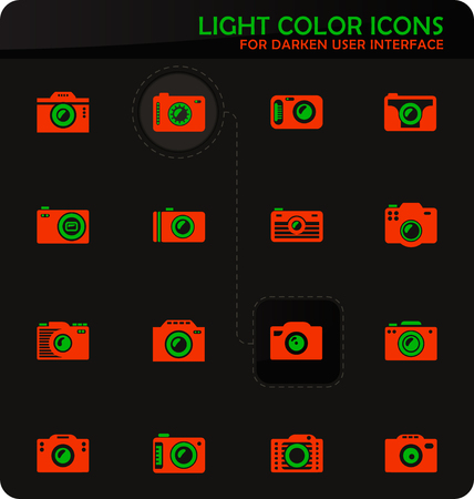 photo camera easy color vector icons on darken background for user interface design