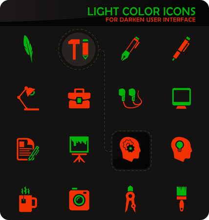 Creative process easy color vector icons on darken background for user interface design Illustration