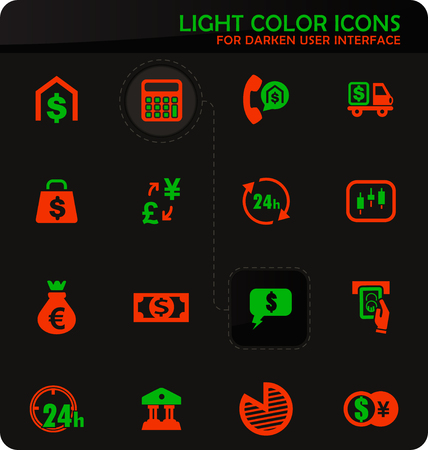 Currency exchange easy color vector icons on darken background for user interface design