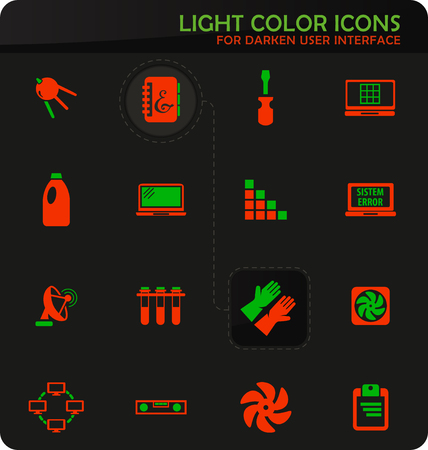 Courses school easy color vector icons on darken background for user interface design