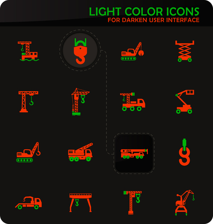 Crane and lifing easy color vector icons on darken background for user interface design