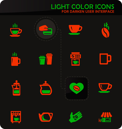 Coffee easy color vector icons on darken background for user interface design