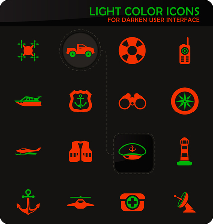 Coast Guard easy color vector icons on darken background for user interface design