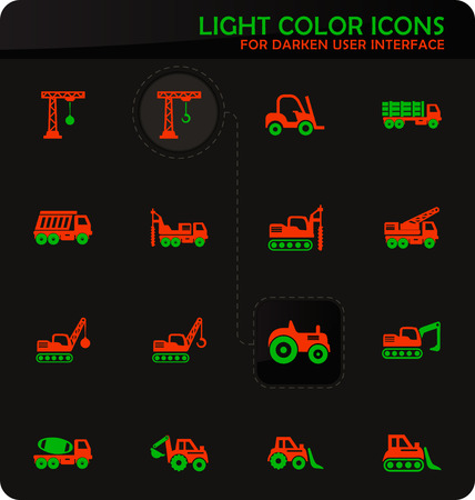 Construction transport easy color vector icons on darken background for user interface design