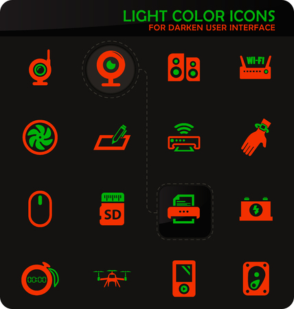 Devices easy color vector icons on darken background for user interface design